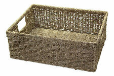Small Seagrass Shallow Storage Basket Drawer Green Filing Bedroom Letter Hamper