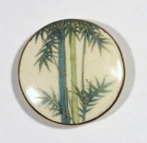 "Vtg Satsuma Japanese Hand Painted Ceramic Porcelain BUTTON Green Bamboo Large 2"""