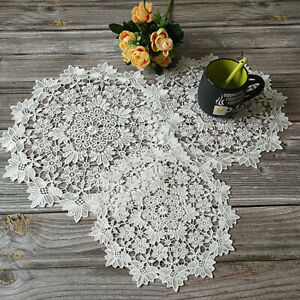 Round Embroidery Lace Table Place Mat Floral Party Home Decor Dining Doily Cover