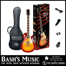SX LP Style Electric Guitar Starter Package with Amp + Tuner + Bag 3 Tone Sunbur