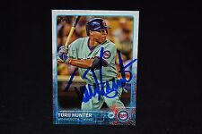 TORII HUNTER 2015 TOPPS SIGNED BASEBALL CARD #590 AUTO TWINS ANGELS TIGERS