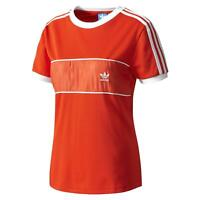adidas ORIGINALS WOMEN'S 3-STRIPE T-SHIRT TEE RED WHITE SUMMER RETRO VINTAGE NEW