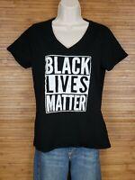 Black Lives Matter Graphic V-Neck T-Shirt Womens Size Large L EUC