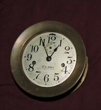 OLD BRASS SETH THOMAS US NAVY DECK CLOCK NO 3 WORKING with KEY