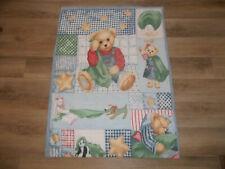 BLUE JEAN TEDDY Bear Baby Crib Bedding Quilt Blanket - 41 x 30 inches