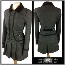 26 NEXT 6 NEW Tweed Jacket Mini Skirt Suit Grey Black Military Velvet Collar 34