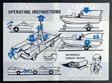 Batman CORGI Toy 107 BATBOAT & 267 BATMOBILE Reproduction OPERATION INSTRUCTIONS