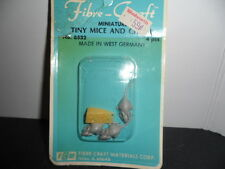 VINTAGE DOLLHOUSE MINIATURE FIBRE CRAFT MICE AND CHEESE (WEST GERMANY)