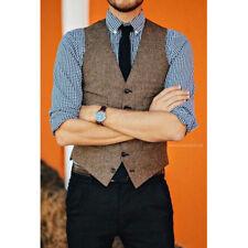 Brown Wool Tweed Vests Slim Mens Suit Vests Custom Sleeveless Suit Waistcoats