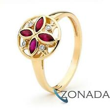 Modern Style Ruby Petal Diamond 9ct Solid Yellow Gold Ring Size P 7.75 25392/CR