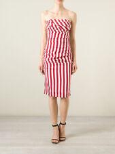 New Dolce & Gabbana Candy Stripe Stretch Silk Bustier Dress