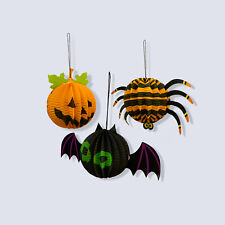 3 Set Small Halloween Paper 3D Hanging Decorations Scary Cute Pumpkin Bat Spider