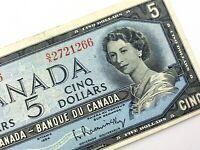 1954 Canada 5 Dollar Five Dollar OX Circulated Beattie Rasminsky Banknote S968