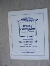 Jubilee Champion Outboard Manual Parts List 6M-GS Featherweight 15 Power Shift K