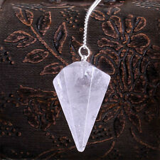 Rock Crystal Quartz Pendulum  Bead End Reiki Energy Healing Free Pouch PP012