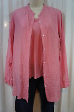 DKNY Pure Top Sz S Pink Roseberry Cotton Silk Blend Casual Career Blouse