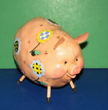 Vintage Fat Pink Pig/Flowers on Her/Unusual/Possibly from 70's/Take Look
