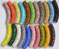 20pcs/lot 45mm x10mm mixed Clay long bending tube crystal shamballa beads