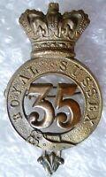 VICTORIAN 35th Royal Sussex Regiment Cap Badge QVC BRASS Original RARE