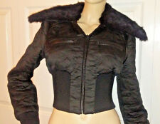 EUC Sexy $298 bebe Bomber Down FUR  jacket size M black Quilted