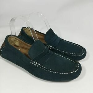 Alfani Blue Leather Driving Moccasins Size 7 Tigger Mocs Penny Loafers Shoes