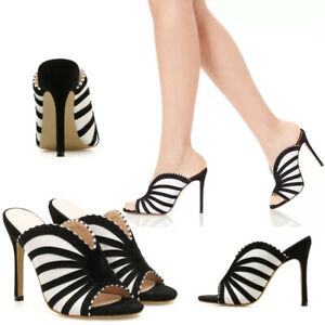 2021 Ladies Zebra Print Peep Toe Pump High Heels Stiletto Sandals