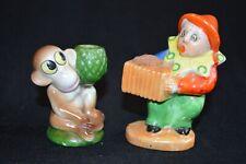 Two Vintage Japan Pin Cushions Accordian Player Man Clown, Monkey w. Pineapple