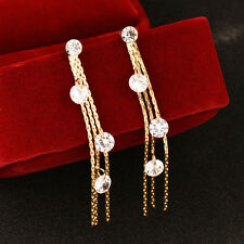 Sexy Round Crystal Drop Long Tassels Dangle Earrings For Women Wedding Party