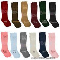 Baby Girls + Girls Knee High 3/4 Spanish Ribbon Bow Socks NB-5 Years