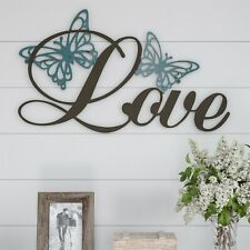 Love with Butterflies Metal Cutout Sign 3D Look Wall Hanging Decor 23 x 13.5
