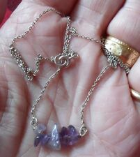 PRETTY, DAINTY STERLING SILVER & AMETHYST TUMBLED STONE NECKLACE GIFTING?