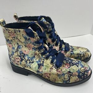 Dirty Laundry floral velvet ribbon lace up womens ankle boots SZ 39 EU 8.5 US
