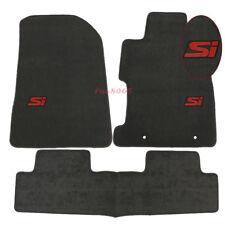 Fits 06-11 Honda Civic 2Dr 4Dr Grey Nylon Floor Mat Carpets Front Rear w/ Red SI