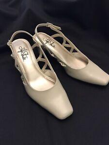 "Sling-Back Shoes Taupe Life Stride Suzette-Sandy Grace 2"" Heel Buckle Size 6M"