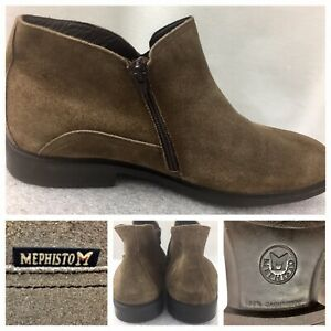 MEPHISTO  Mens Size 10.5 US Ankle Boots Suede Tan Lesther Side Zip