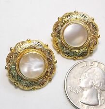 Vintage Damascene & MOP Mother of Pearl Clip Earrings, Round, Gold Plate, 7/8""