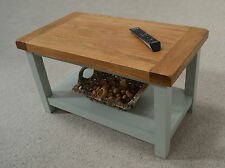 Camborne Painted Oak Coffee Table with Shelf in Sea Green / Sage