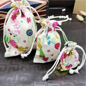 """12PCS Cotton linen blends Beige w/Rabbit Jewelry Drawstring Bags Pouches 5.5""""x4"""""""