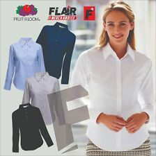 Fruit Of The Loom Lady-Fit Long Sleeve Oxford Shirt, 5-Colour - (XS-3XL)