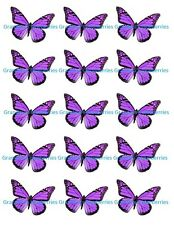 Edible Purple Floral Butterfly Wedding Cake Toppers- Cake Decorations set of 15