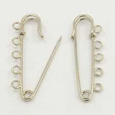 5pcs Iron Kilt Pins with Loops Safety Pin Craft Brooch Findings Silver 16x50mm