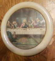 "RARE Vintage Last Supper Print Round Framed Celluloid Jesus Apostles Art 5"""