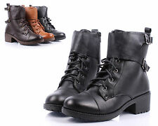 Black nn Faux Leather Cuban Ankle-High Low Heels Womens Combat Boots Size 9