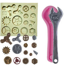 2pcs/set Cogs & Gears Fondant Tools Cake Mould Wrench Silicone Mold Steam Punk