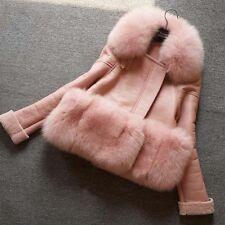Fashion Women Winter Warm Short Faux Fur Collar Jacket Parka Outwear Coat Trench