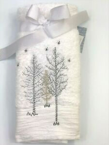 White Silver  Set of 2 Fingertip Bath Towels Embroidered TREES Turkish Cotton
