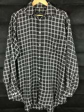 TRENT NATHAN BIG Check Button Front Long Sleeve Collared Pure Cotton Shirt Large