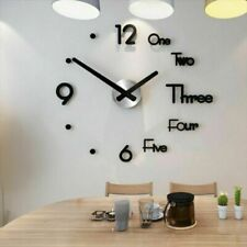 Large Wall Clock Modern Design 3d Wall Sticker Silent Home Decor Living Room