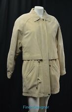 Nordstrom Genuine Leather Jacket Trench Coat long thin quited lined womens S M