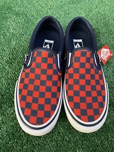 NEW  | VANS Slip-On Pro Checkerboard, Men's 7 / Women's 8.5 Navy / Orange
